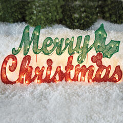 Pre-Lit Merry Christmas Sign , RED GREEN