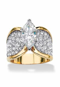 Yellow Gold Plated Cubic Zirconia and Round Crystals Cocktail Ring,