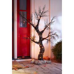 4' Spooky Halloween Tree, BLACK