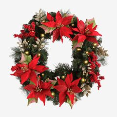 Pre-Lit Poinsettia Wreath, RED