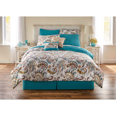 8 PC Paisley Printed Comforter Set, BLUE MULTI