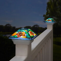 Floral Mosaic Solar Post Light Cap, MULTI