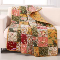 Antique Chic Quilted Patchwork Throw Blanket, MULTI