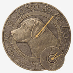 """Labrador 14"""" Indoor Outdoor Wall Thermometer With Clock Combo, FRENCH BRONZE"""