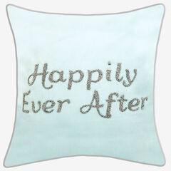 "Beaded ""Happily Ever After"" Decorative Pillow, BLUE"