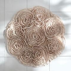 Fleur de Chic Round Bath Rug, SILVER