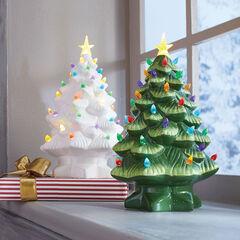 Mr. Christmas Pre-Lit Nostalgic Porcelain Christmas Tree, GREEN