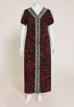 Terra Cotta Open-Shoulder Maxi Dress,