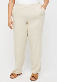 Linen Blend Pull-On Pant, NATURAL FLAX