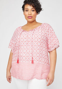 Striped Medallion Peasant Top,