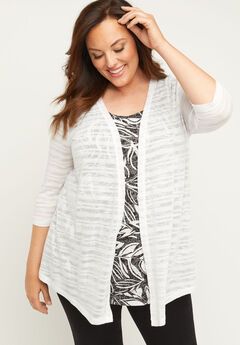 Shadow Stripe Cardigan With 3/4 Sleeves,