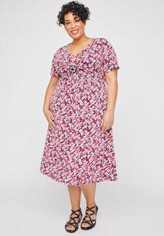 Rosewater Medallion Twist Fit & Flare Dress,