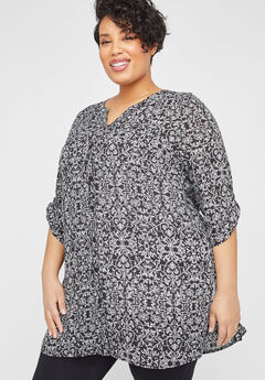 Georgette Palm Leaf Buttonfront Tunic Top,