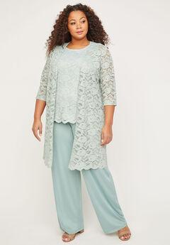 3-Piece Metallic Lace Pant Suit,