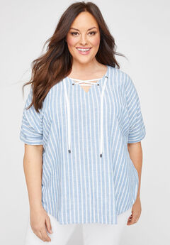 Lace-Up Linen-Blend Top,