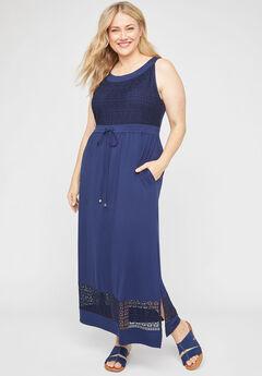 Venetian Crochet Maxi Dress,