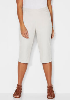 Essential Flat Front Twill Capri With Side Inset,