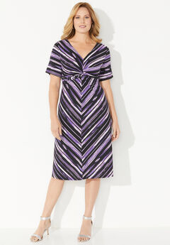 Violet Twist-Knot Fit & Flare Dress,
