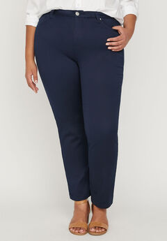 Sateen Stretch Pant with Comfort Waist,