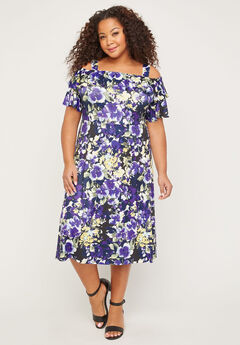Field of Pansies Fit & Flare Dress,