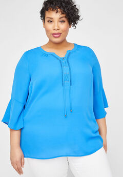 Georgette Bell Lace-Up Top,