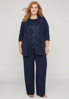 3-Piece Lace Gala Pant Suit,