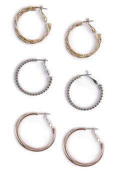 Ornamental Hoop Earrings - 3 Pack, SILVER