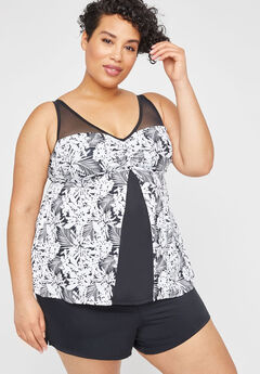 Floral Shadow Tankini Top,