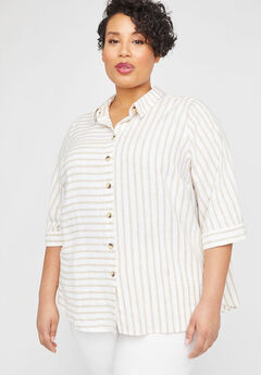 Mixed Stripe Linen Blend Buttonfront Tunic,