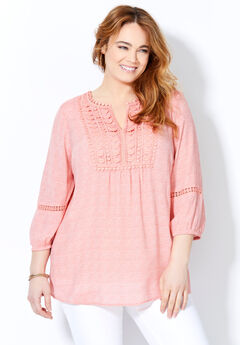 Crochet Pleated Peasant Top,