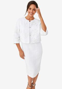 Lace Jacket Dress, WHITE