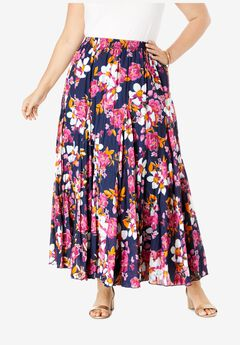 Flowing Crinkled Skirt, NAVY FLORAL GARDEN