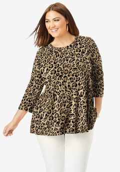 Swing Tunic, NATURAL BOLD LEOPARD