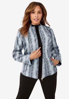 Zip Front Leather Jacket, GREY SNAKE SKIN