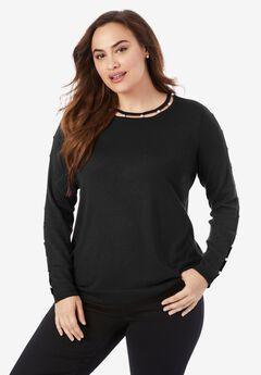 Pearl-Trim Sweater, BLACK