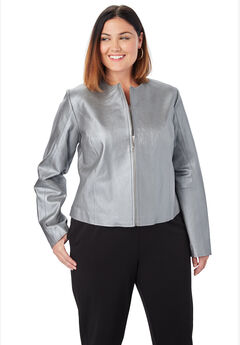 Collarless Leather Jacket, SILVER