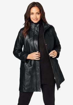 A-Line Zip Front Leather Jacket, BLACK