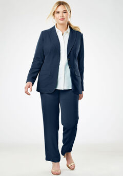 Single Breasted Pant Suit, NAVY