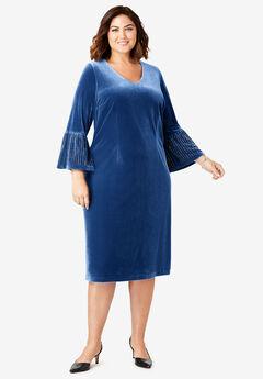 Bell Sleeve Dress, EVENING BLUE CRYSTAL