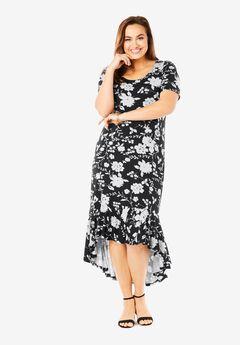 Everyday Knit Flounce Hem Maxi Dress, BLACK ILLUSION FLORAL