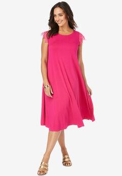 Crochet Sleeve Jersey Dress,