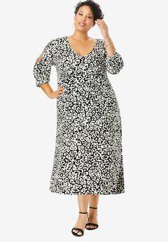 Slit Sleeve Midi Dress, BLACK GRAPHIC ANIMAL