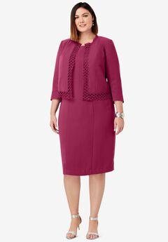 Lace Trim Jacket Dress, BERRY TWIST