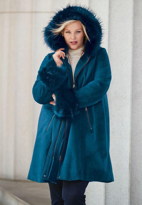 Hooded Faux Fur Trim Coat Onestopplus, Faux Fur Coat Hood Trim