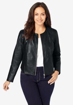 Collarless Leather Jacket, BLACK