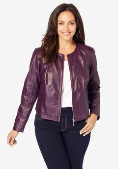 Collarless Leather Jacket, DARK BERRY