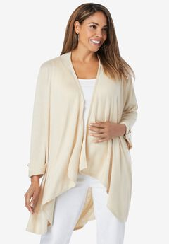 Drape-Front High-Low Cardigan,