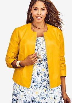 Collarless Leather Jacket, SUNSET YELLOW