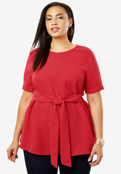 Tie-Front Tunic, BRIGHT RUBY