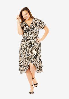 Linen-Blend Wrap Dress,